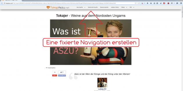 fixierte Navigation in Wordpress mit dem Theme OptimizePress